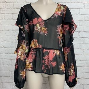 Halogen Ruffle Floral Cold Open Shoulder Blouse